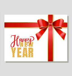 happy new year greeting card with red ribbon bow vector image