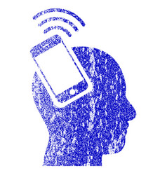 Head smartphone plugin ring textured icon vector