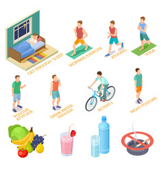healthy lifestyle isometric concept regular vector image