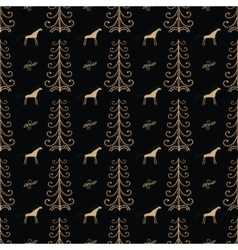 Horse among forest trees seamless pattern vector image