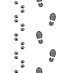 Human feet and dog paws vector