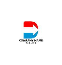 initial letter d arrow logo design template vector image