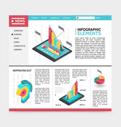 isometric infographic elements website concept vector image