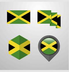 jamaica flag design set vector image