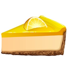 Lemon cheesecake on white vector