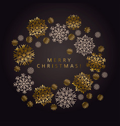 luxury black and gold snowflake xmas pattern vector image