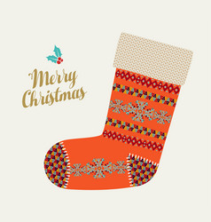 Merry christmas holiday card winter boho sock vector