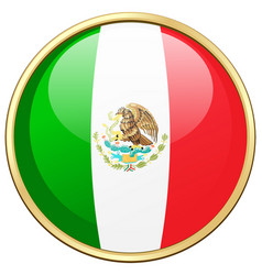 Mexico flag on round frame vector