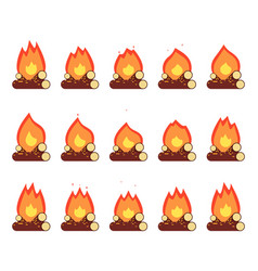 Motion animation flame burn night camp campfire vector