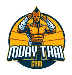 Muay thai fighter mascot stance vector