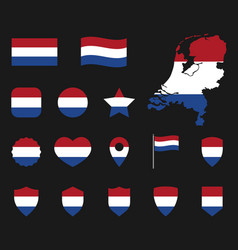 netherlands flag icons set holland flag symbol vector image