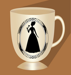 Nostalgic beige coffee cup with victorian lady vector
