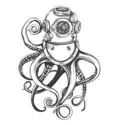 octopus in a diver helmet old underwater diving vector image