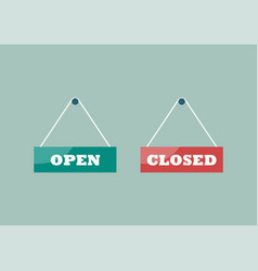 open and closed signs hanging plates vector image