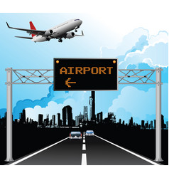 overhead airport gantry sign vector image