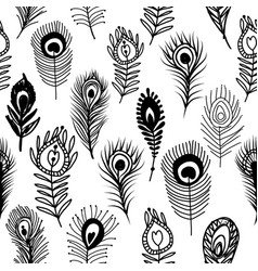 Peacock feathers seamless pattern for your design vector