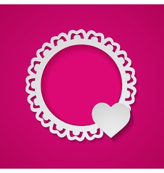 pink card with a paper frame and a heart vector image