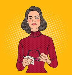 Pop art beautiful woman wiping his eyeglasses vector