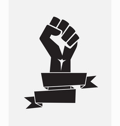 Raised fist poster black with ribbon - isolated vector