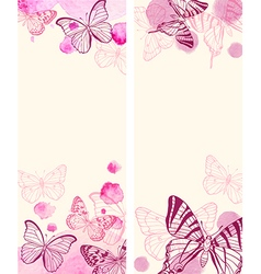 Red butterflies and pink watercolor blots vector image