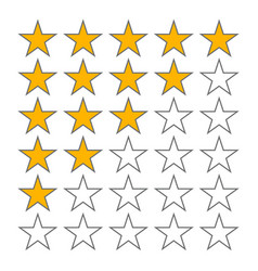 row five stars rate 5 star rating icons vector image