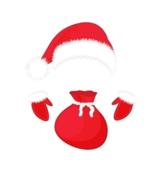 Santa Claus hat gloves and a bag of gifts vector image