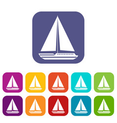 Sea yacht icons set vector