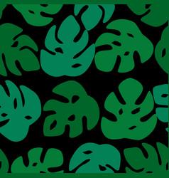 seamless leaves pattern monstera leave on black vector image