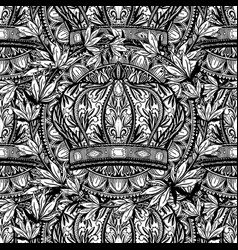 seamless pattern crown king and queen elegant vector image