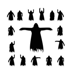 Set flying ghost silhouette vector