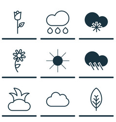 Set of 9 landscape icons includes cloud sunshine vector