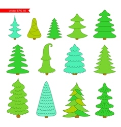 Set of Christmas trees vector image