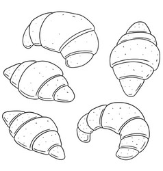 set of croissant vector image