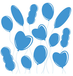 Set of flat isolated blue silhouettes of balloons vector