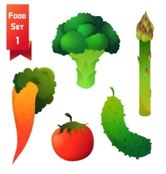 Set of juicy vegetables green broccoli and vector image