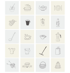 set with housewares garden items and house for vector image