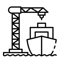 Ship load port crane icon outline style vector