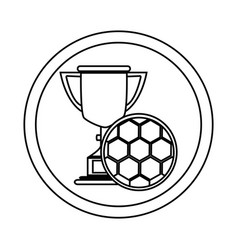 Silhouette circular frame with trophy with soccer vector