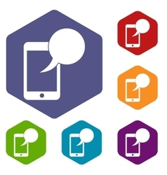 Speech bubble on phone icons set vector image