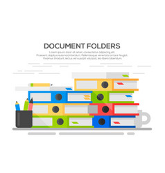 stack papers colorful binders vector image