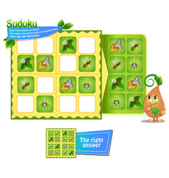 sudoku logic game insects vector image