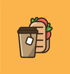 tea drink and ciabatta sandwich vector image