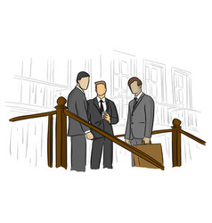 three business people standing outdoors vector image