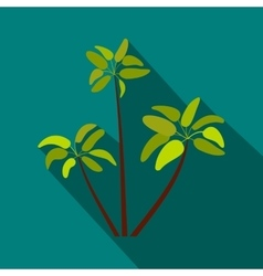 Three palm plant trees icon flat style vector image