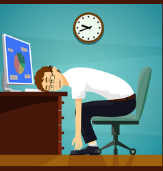 Tired worker sitting at desk with computer stock vector