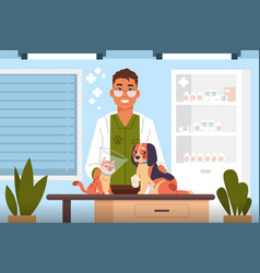 Vet examine cartoon veterinary doctor in clinic vector