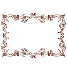 Vintage border frame baroque vector