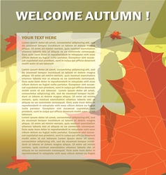 Welcome autumn card with orange and red oak leaves vector image