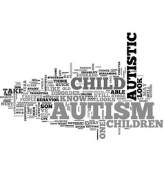 What does autism look like text word cloud concept vector