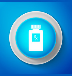 white pill bottle with rx sign and pills icon vector image